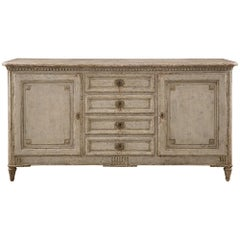 French 19th Century Louis XVI Style Patinated Wood and Faux Marble Buffet