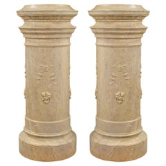 French 19th Century Louis XVI Style Plaster Columns with a Faux Marble Finish