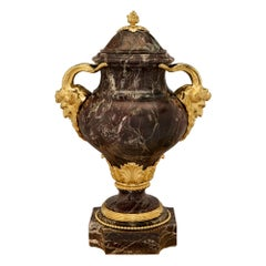 French 19th Century Louis XVI Style Rosso Levanto Marble and Ormolu Lidded Urn