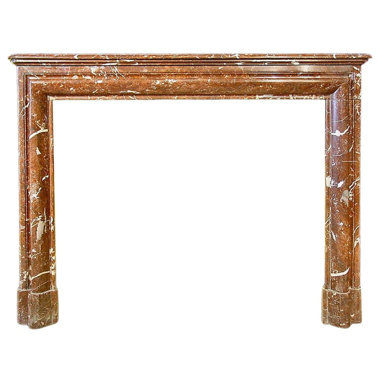 French 19th Century Louis XVI Style 'Rosso Merling' Marble Mantel For Sale