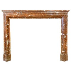 French 19th Century Louis XVI Style 'Rosso Merling' Marble Mantel