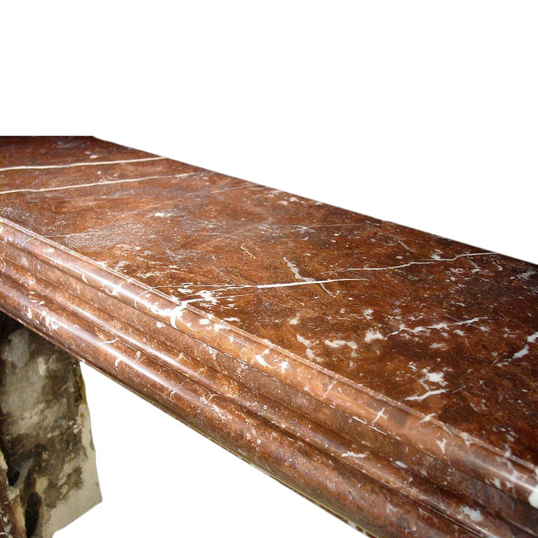 French 19th Century Louis XVI Style 'Rosso Merling' Marble Mantel In Excellent Condition For Sale In West Palm Beach, FL