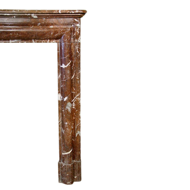 French 19th Century Louis XVI Style 'Rosso Merling' Marble Mantel For Sale 1