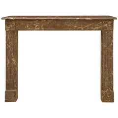 French 19th Century Louis XVI Style Rouge Catalan Marble Fireplace Mantel