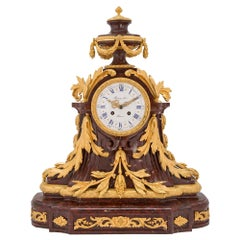 French 19th Century Louis XVI Style Rouge Griotte Marble and Ormolu Clock