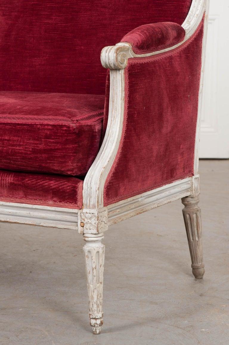 Velvet French 19th Century Louis XVI-Style Settee For Sale