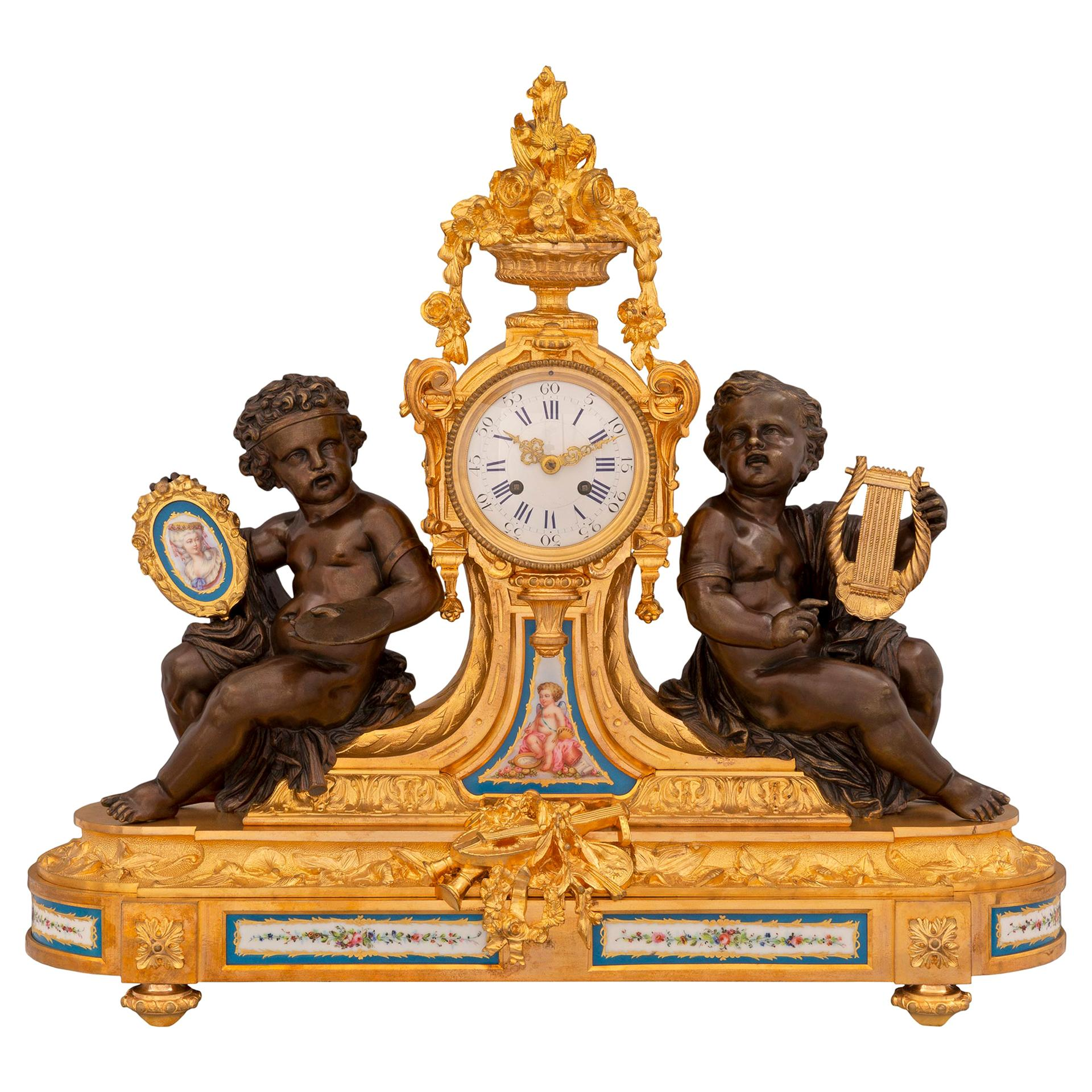 French 19th Century Louis XVI Style Sèvres Porcelain and Ormolu Clock