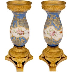 French 19th Century Louis XVI Style Sèvres Porcelain and Ormolu Vases