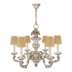 French 19th Century Louis XVI Style Silvered Bronze Six-Arm Chandelier
