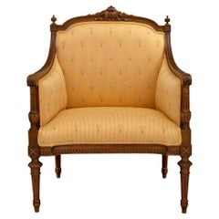 French 19th Century Louis XVI Style Solid Oak Marquise Armchair