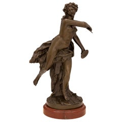 French 19th Century Louis XVI Style Statue of a Maiden Dancing with Cymbals