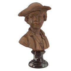 French 19th Century Louis XVI Style Terracotta Bust of a Young Boy Signed Houdon