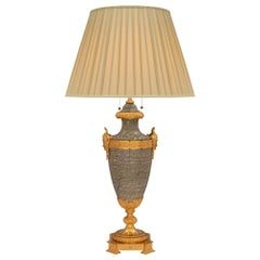 French 19th Century Louis XVI Style Vert Campan Marble and Ormolu Lamp