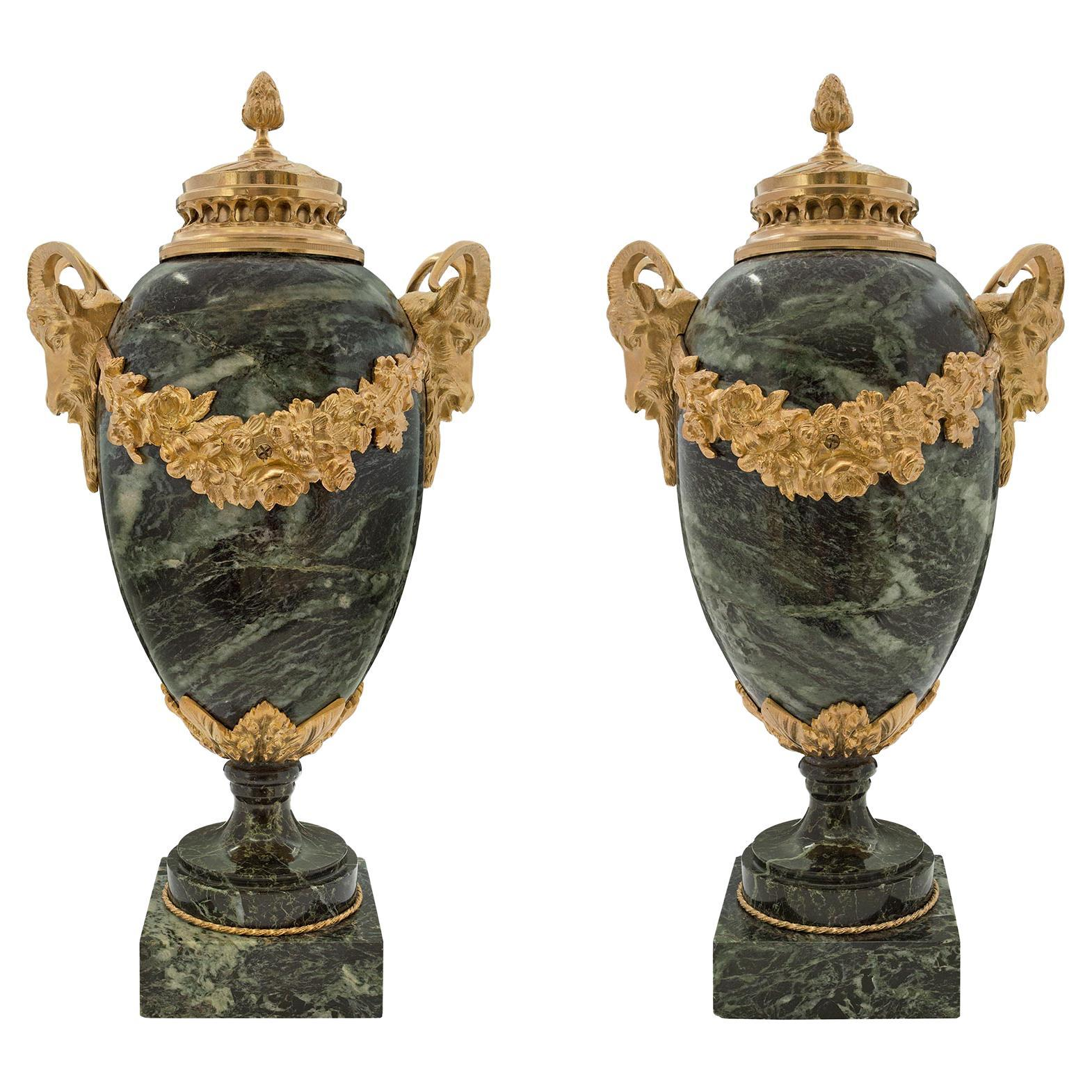 French 19th Century Louis XVI Style Vert De Patricia Marble and Ormolu Urns