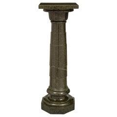 French 19th Century Louis XVI Style Vert De Patricia Marble Pedestal Column