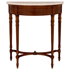 French 19th Century Louis XVI Style Walnut and Marble Demilune Console