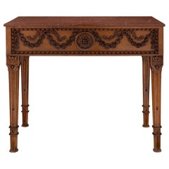 French 19th Century Louis XVI Style Walnut and Rouge Griotte Marble Console