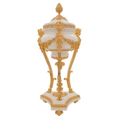 French 19th Century Louis XVI Style White Carrara and Ormolu Lidded Urn