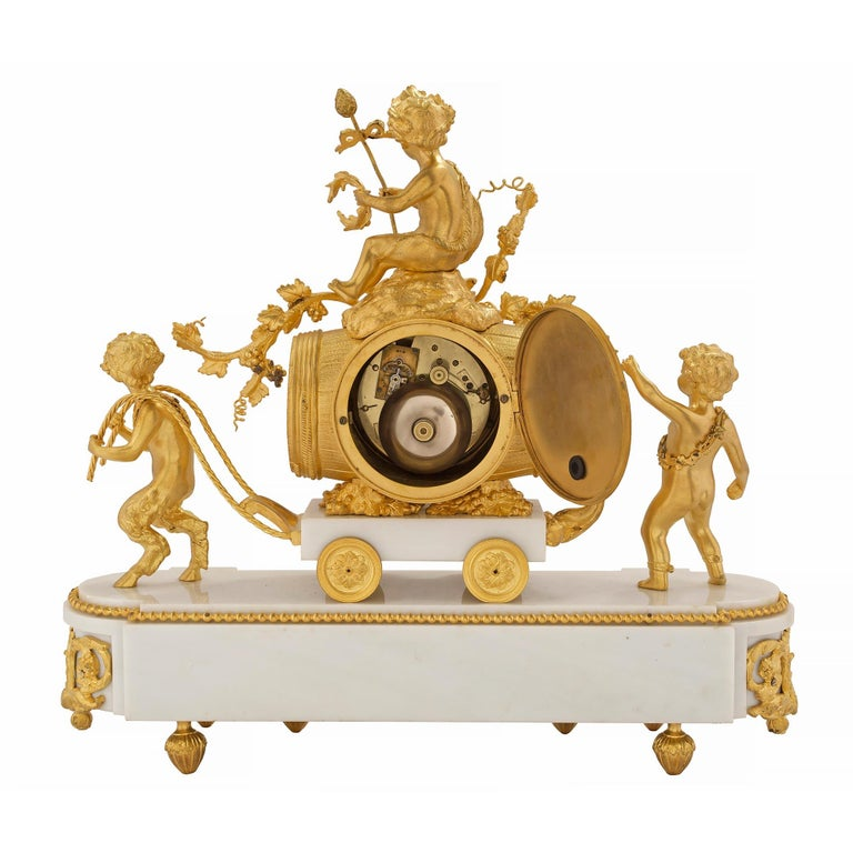French 19th Century Louis XVI Style White Carrara Marble and Ormolu Clock For Sale 1