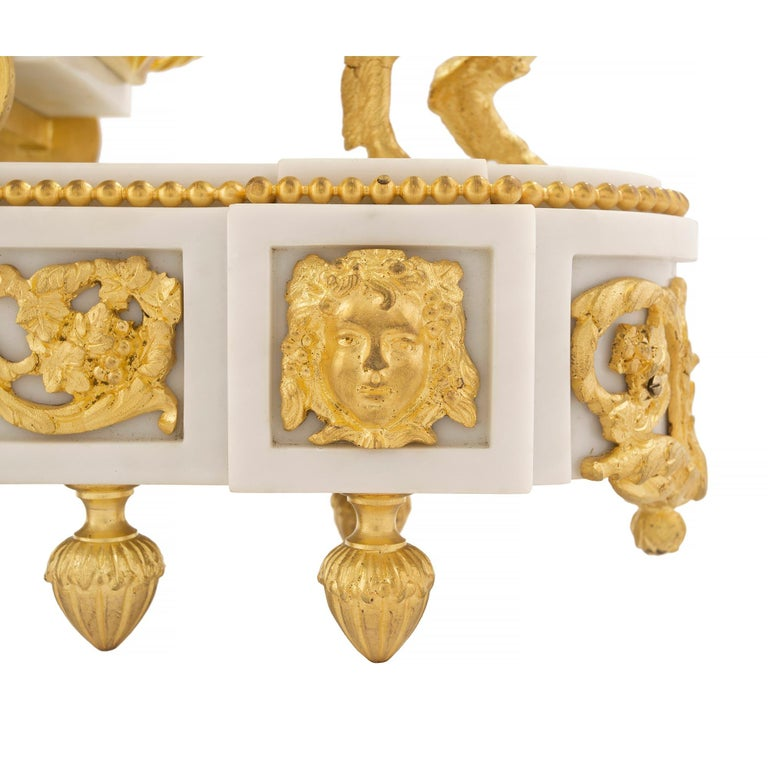 French 19th Century Louis XVI Style White Carrara Marble and Ormolu Clock For Sale 5
