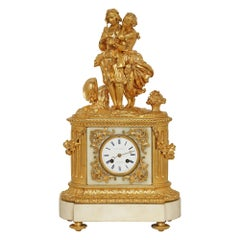 French 19th Century Louis XVI Style White Carrara Marble and Ormolu Clock
