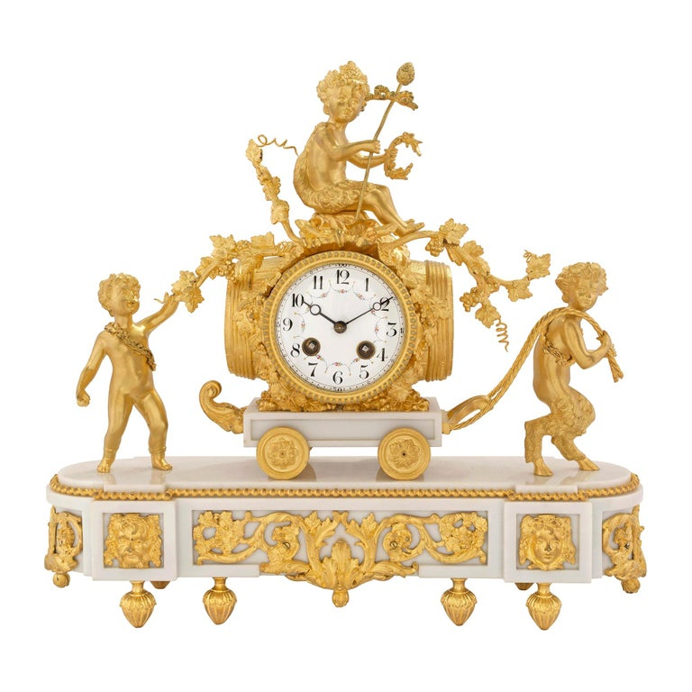 French 19th Century Louis XVI Style White Carrara Marble and Ormolu Clock For Sale