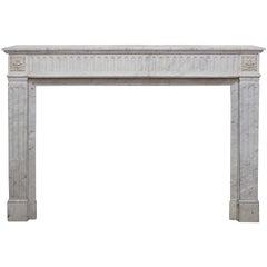 French 19th Century Louis XVI Style White Carrara Marble Fireplace Mantel
