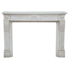 French 19th Century Louis XVI Style White Carrara Marble Mantel