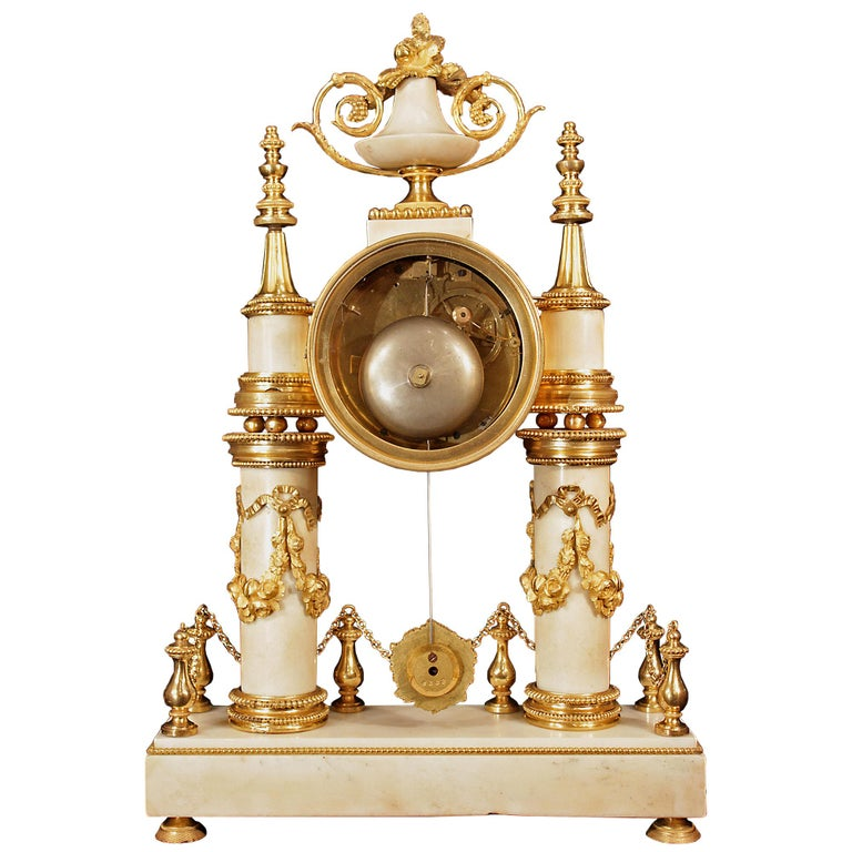 French 19th Century Louis XVI Style White Carrara Marble & Ormolu Mounted Clock For Sale 1