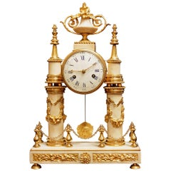 French 19th Century Louis XVI Style White Carrara Marble & Ormolu Mounted Clock