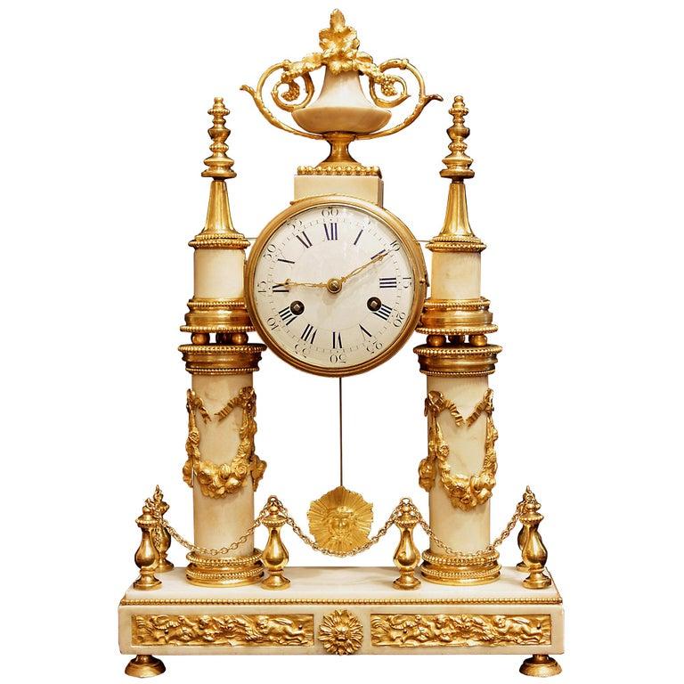 French 19th Century Louis XVI Style White Carrara Marble & Ormolu Mounted Clock For Sale