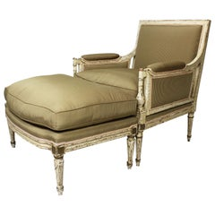 French 19th Century Louis XVI Style White-Painted Lounge Chaise Ottoman Armchair