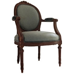French, 19th Century Louis XVI Walnut Fauteuil