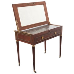 French 19th Century Mahogany Campaign Style Lift Top Dressing Table Vanity