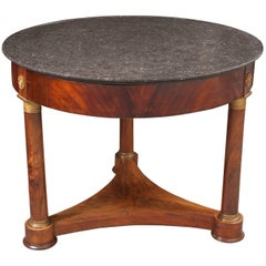 French 19th Century Mahogany Empire Gueridon with Marble Top