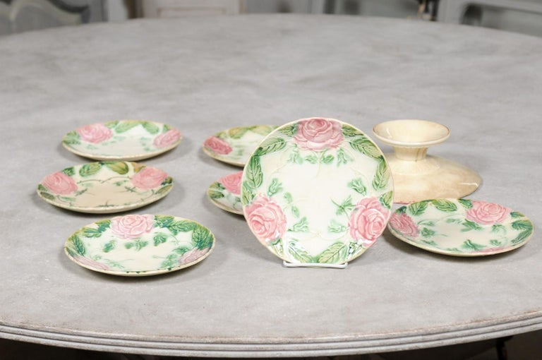 French 19th Century Majolica Compote and Plates with Roses, Sold Individually For Sale 7