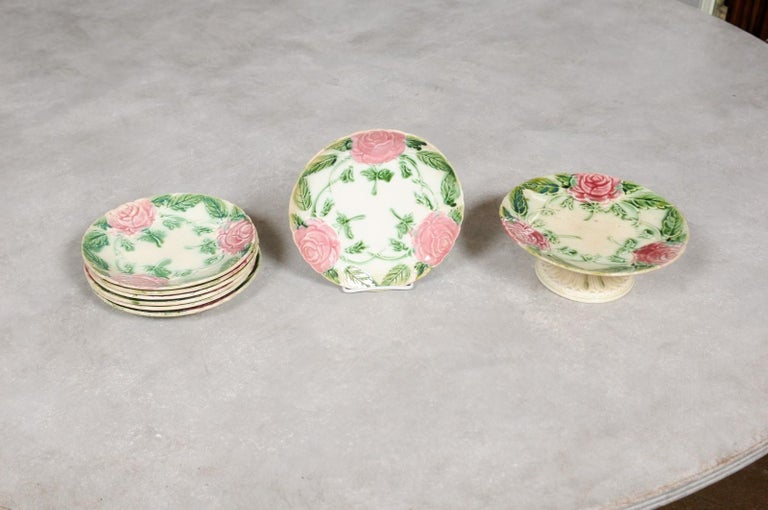 French 19th Century Majolica Compote and Plates with Roses, Sold Individually For Sale 1