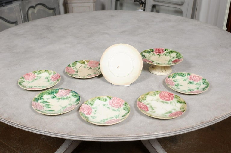 French 19th Century Majolica Compote and Plates with Roses, Sold Individually For Sale 2