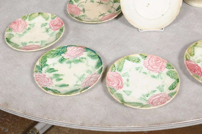 French 19th Century Majolica Compote and Plates with Roses, Sold Individually For Sale 3