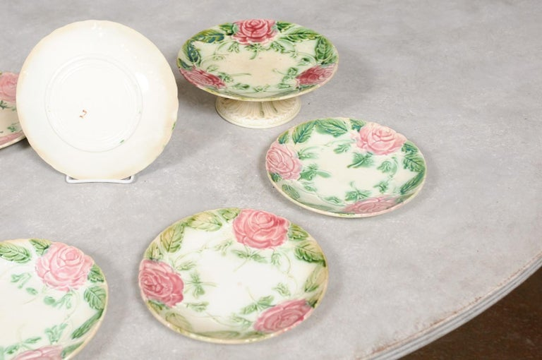 French 19th Century Majolica Compote and Plates with Roses, Sold Individually For Sale 4