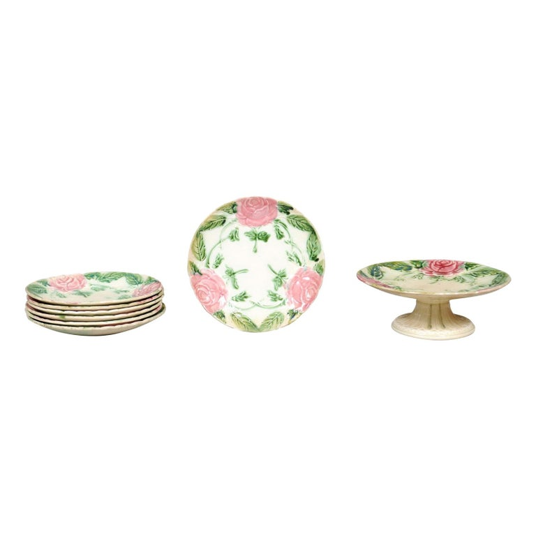 French 19th Century Majolica Compote and Plates with Roses, Sold Individually For Sale