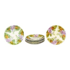 French 19th Century Majolica Grape Plates with Their Leaves, Seven Available
