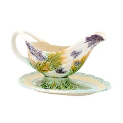 French 19th Century Majolica Gravy Boat with Asparagus Heads and Green Foliage