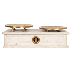 French 19th Century Marble and Brass Culinary Scale