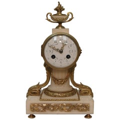 French 19th Century Marble and Bronze Gilt Mantel Clock