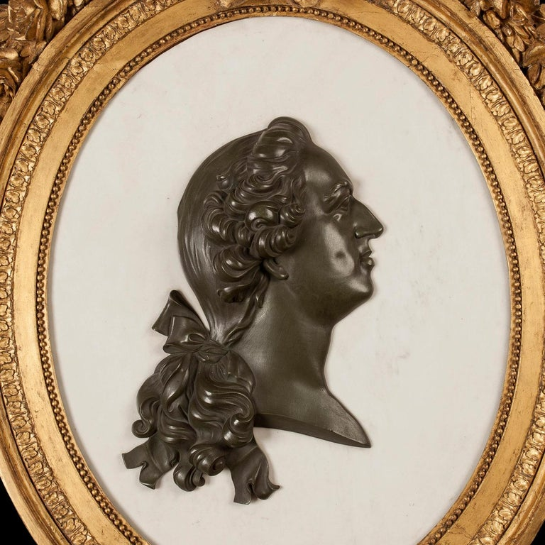 Neoclassical French 19th Century Marble, Bronze and Giltwood Cameo Wall Art For Sale