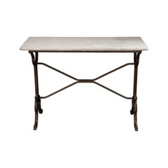 French 19th Century Marble-Top Garden Table