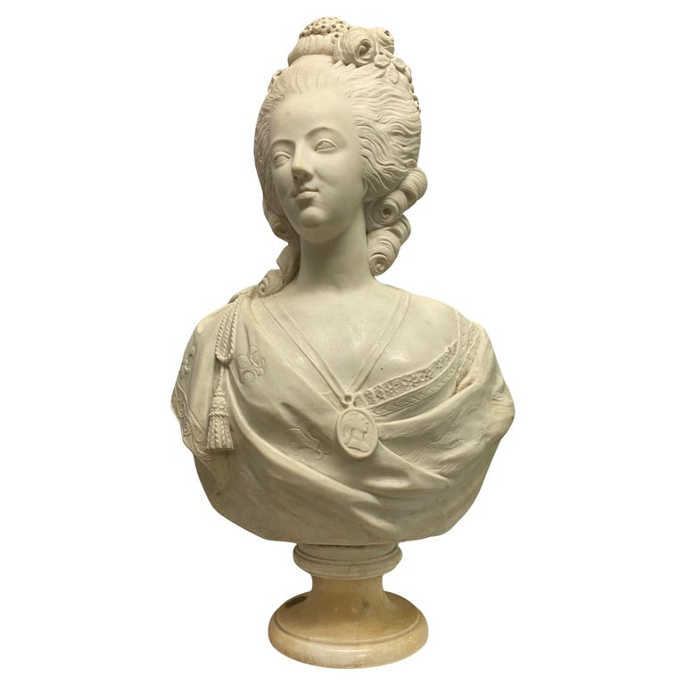 French 19th Century Marie Antoinette Marble Bust For Sale