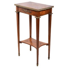 French 19th Century Marquetry Inlaid Side Table, in the Manner of Linke