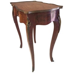 French 19th Century Marquetry Side or Occasional Table with Ormolu Mounts